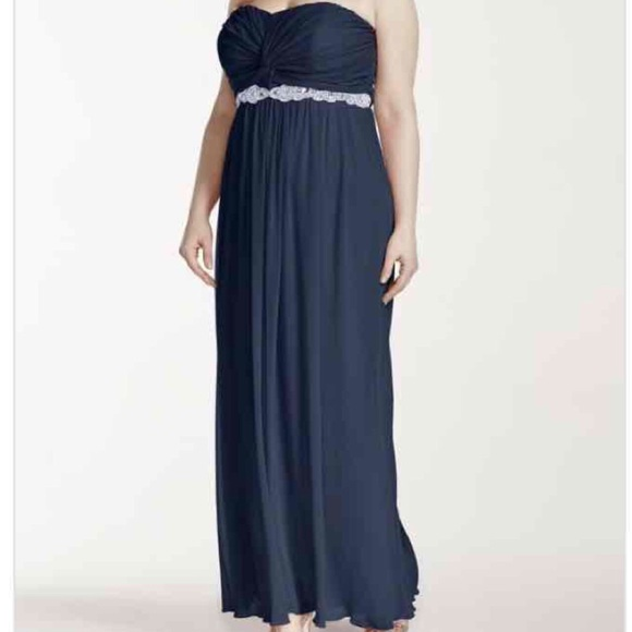 Davids Bridal Dresses Plus Size Strapless Navy Blue Formal Dress